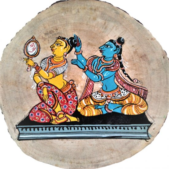 A Pattachitra Painting on a Wooden Plaque