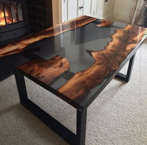 Live Edge Coffee Table with River Running through it, acacia wood with full metal base