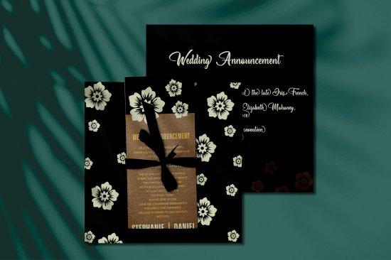 Black matte screen printed wedding invitation