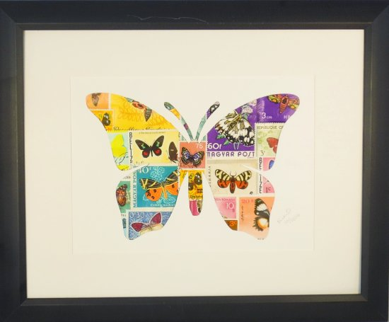 "Vintage Postage Stamp Art - ""Butterfly"""