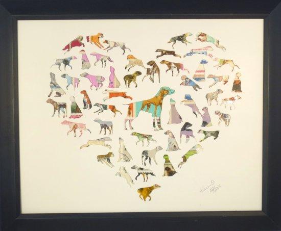 """Vintage Postage Stamp Art - """"Dog Heart"""""""
