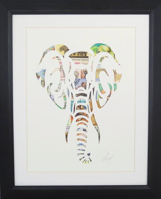 """Vintage Postage Stamp Art - """"Elephant Head"""""""