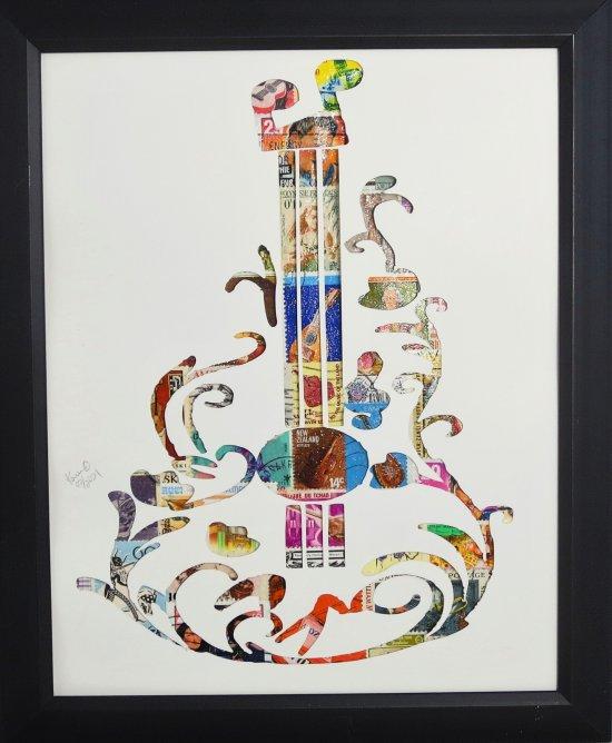 """Vintage Postage Stamp Art - """"Guitar"""""""