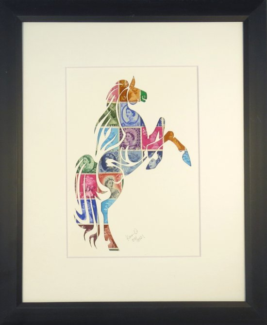 """Vintage Postage Stamp Art - """"Horse"""""""