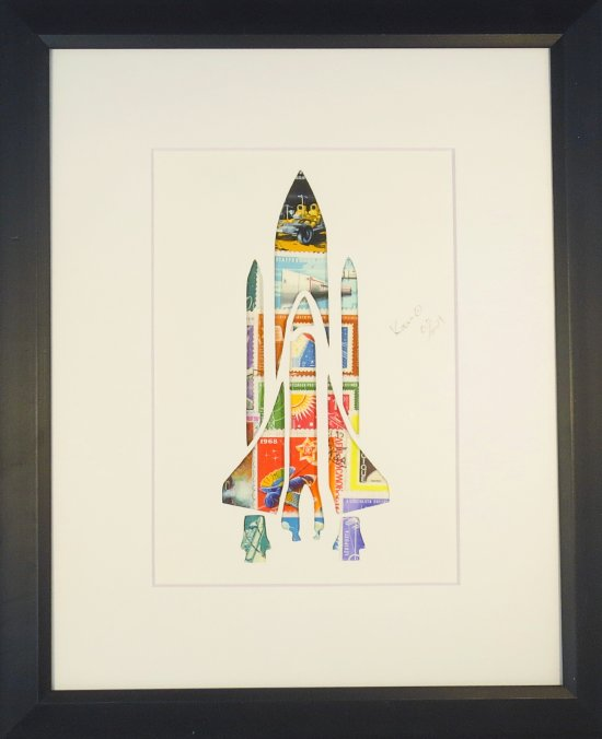 "Vintage Postage Stamp Art - ""Rocket Ship"""