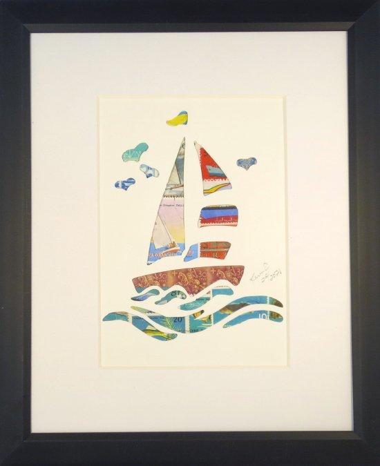 """Vintage Postage Stamp Art - """"Sailboat"""""""