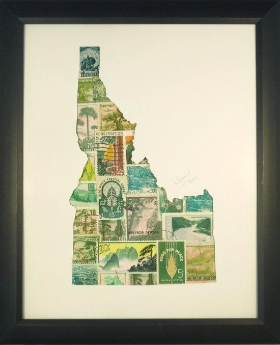 "Vintage Postage Stamp Art - ""State of Idaho"""