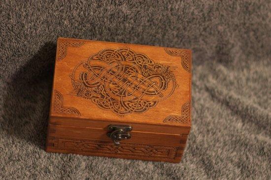 Celtic Dragons themed wooden jevelery box/casket