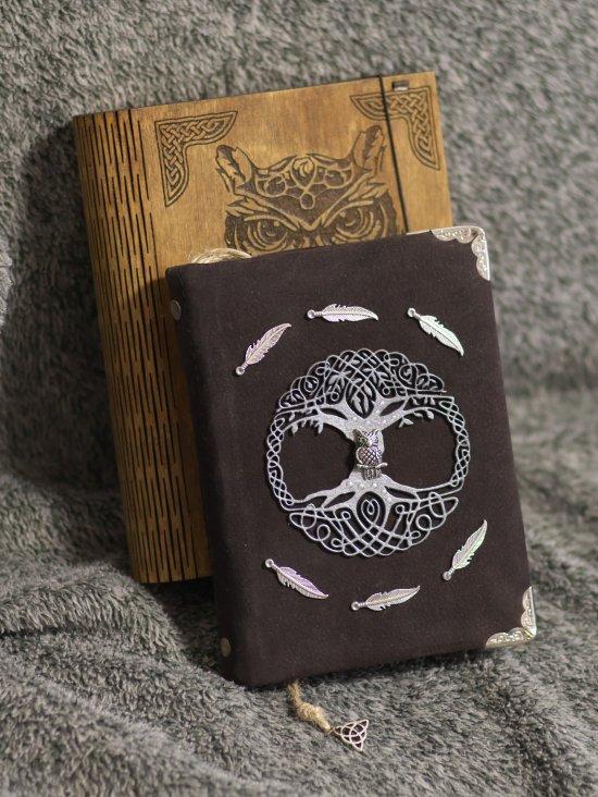 Celtic Legend series Handmade suede brown paper notebook in wooden box