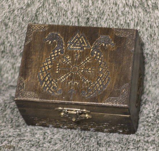 Vikings - Vegvisier and Dragons themed medium jevelery box/casket with hidden section
