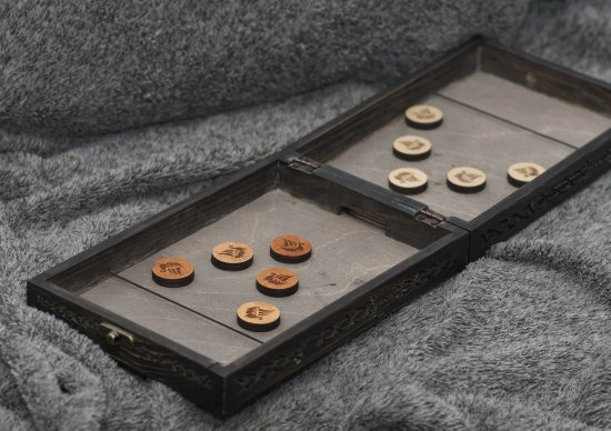 The Fjord Capture - viking themed slingpuck/slingshot wooden foldable board game, Quarantine/Lockdown training for true Vikings