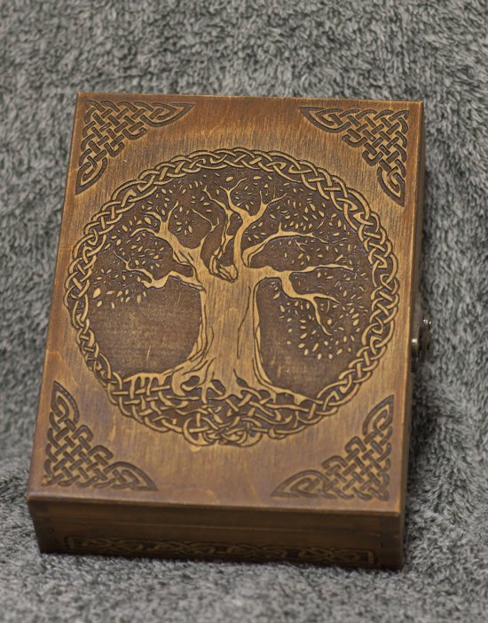 Celtic tree themed wooden jevelery box/casket - book-shaped - Black