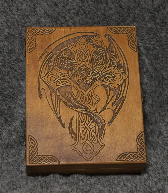 Celtic Cross and Dragon themed wooden jevelery box/casket - book-shaped - Black