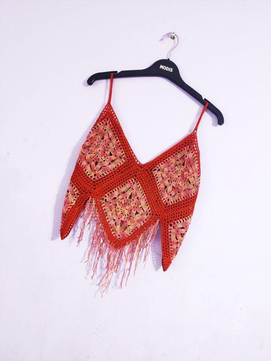 Crochet red yellow pale blue boho top , Boho bikini coverup
