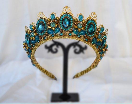 Diadem tiara crown handmade blue with gold color