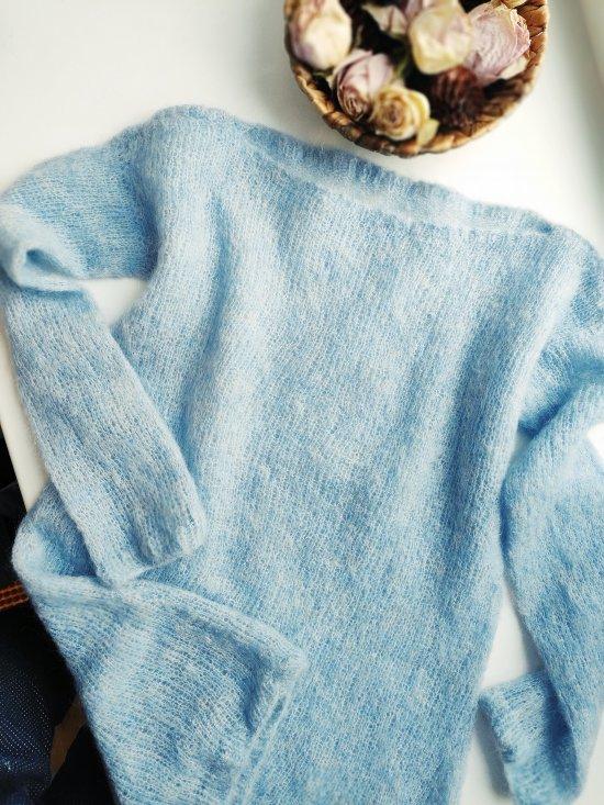 Knitted mohair light blue sweater, Summer slim mohair sweater, Pure wool soft sweater