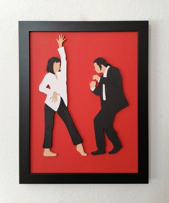 Handmade Pulp Fiction minimalist wood wall art #3