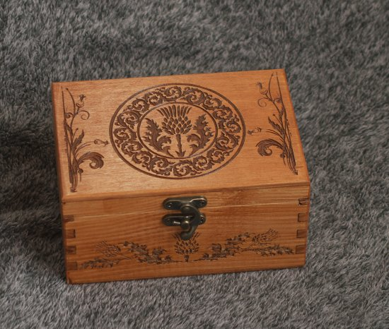 The Thistle of Scotland themed wooden jevelery box/casket