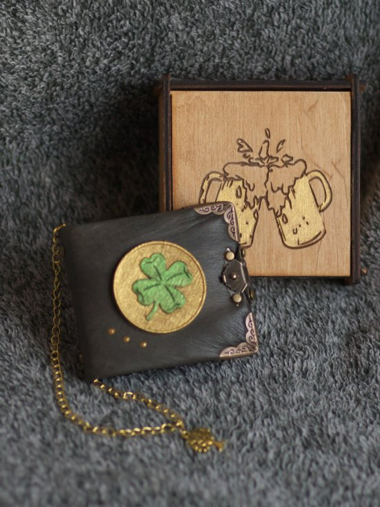 """Handmade leather black paper notebook """"lover"""" series in wooden box"""