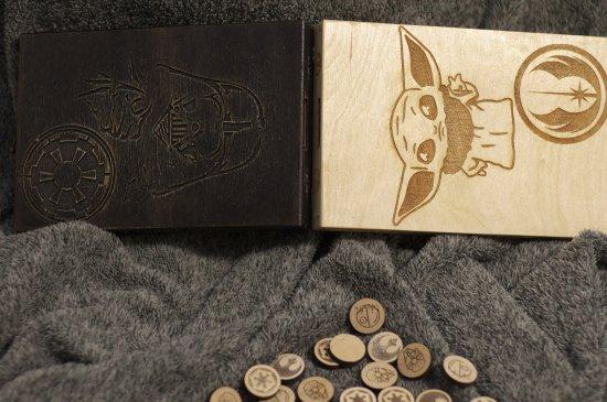 Battle for The DeathStar - themed slingpuck/slingshot wooden foldable board game, Quarantine/Lockdown training for true Jedy