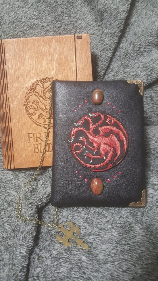 Red Dragon themed - Handmade leather black paper notebook in wooden box