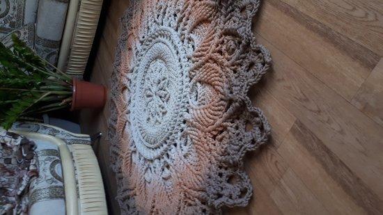 Crochet, round color carpet (ivory-peach-coffee). Carpet to order. Handmade carpet. Rug. Decor for home.