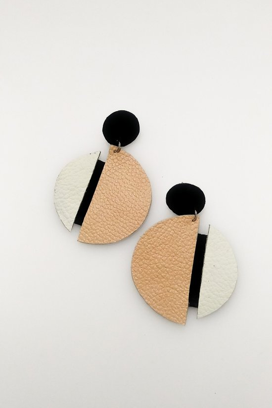 Handmade earrings made of genuine leather in natural shades