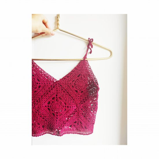 Crochet cropped vine lace top, Lace trim tank top