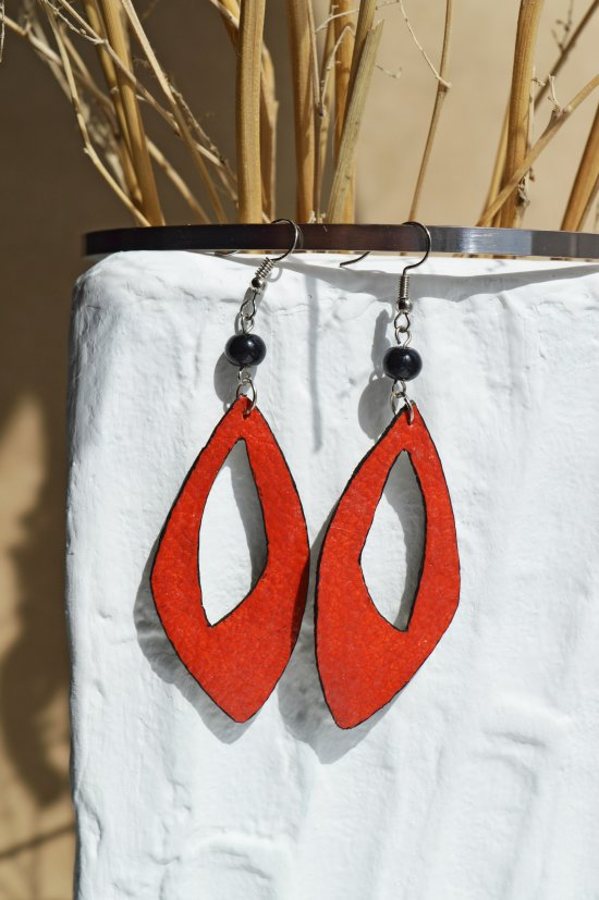 Earrings made  leather orange with black