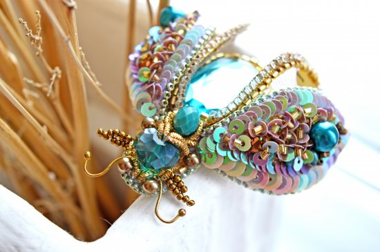 Brooch with crystals Beetle handmade pin insect mint color