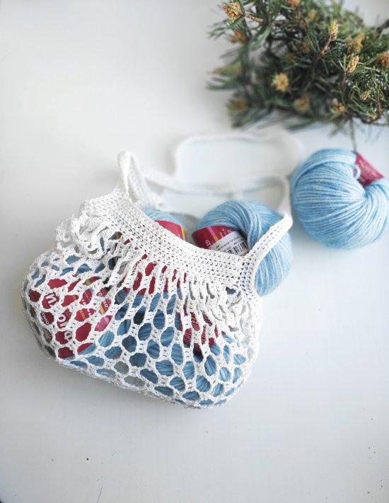 Crochet white lace shoulder bag , Knitting project tote, Crochet bag for women handmade