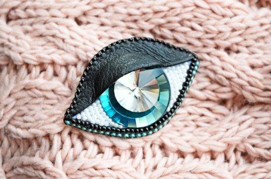 Handmade brooch Blue eye protection from the evil eye