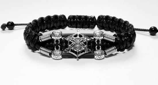 Handmade bracelet with a durable cord. Spider