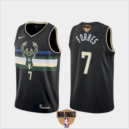 Men's Milwaukee Bucks #7 Bryn Forbes Black 2021 Finals Jersey