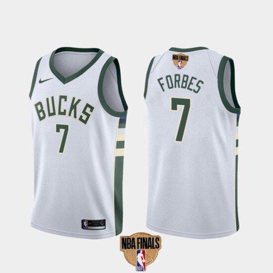 Men's Milwaukee Bucks #7 Bryn Forbes White Association 2021 Finals Jersey