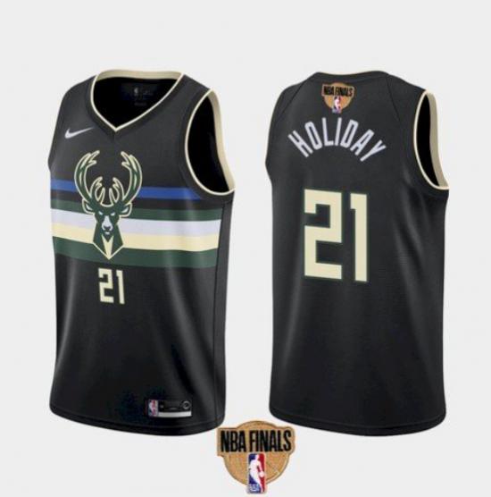 Men's Milwaukee Bucks #21 Jrue Holiday Black 2021 Finals Jersey