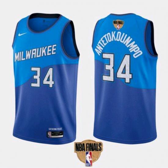 Men's Milwaukee Bucks #34 Giannis Antetokounmpo Blue 2021 Finals Jersey