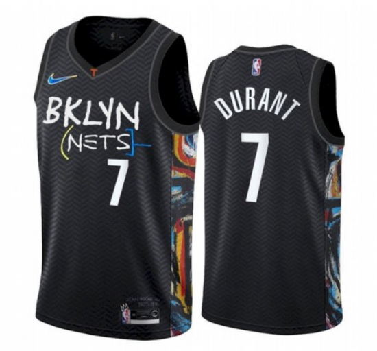Men's Brooklyn Nets #7 Kevin Durant Black The City Edition Jersey