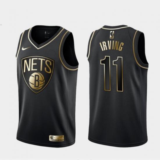 Men's Brooklyn Nets #11 Kyrie Irving Black Golden Edition Jersey