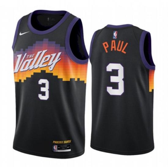 Men's Phoenix Suns #3 Chris Paul Black The City Edition Jersey