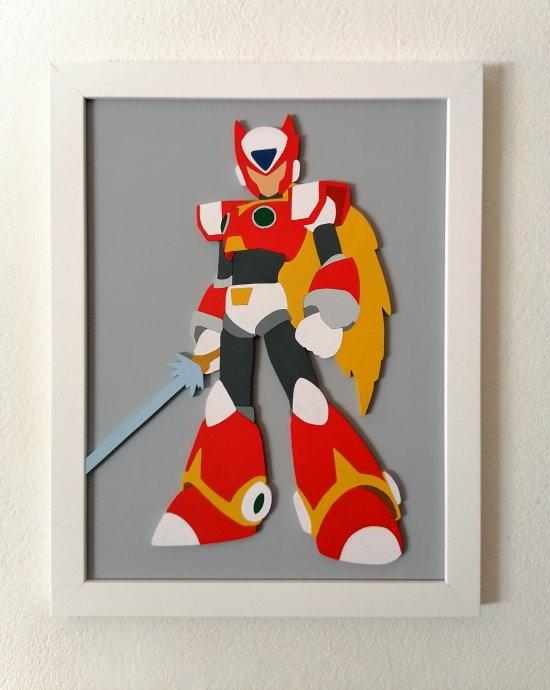 Handmade Mega Man Zero minimalist wood wall art