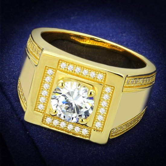 Gold 925 Sterling Silver Ring with AAA Grade CZ in Clear