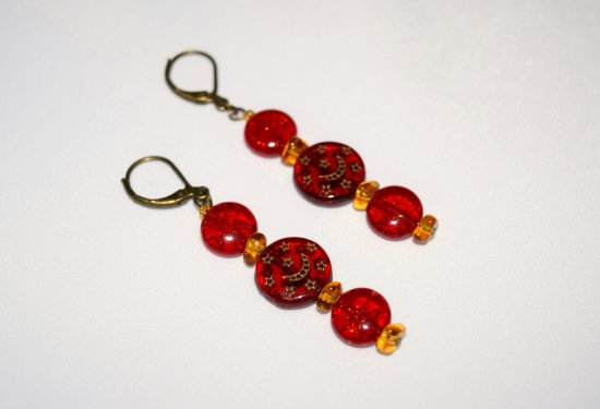 Red earrings: vintage red glass beads with Czech amber colored triangle beads