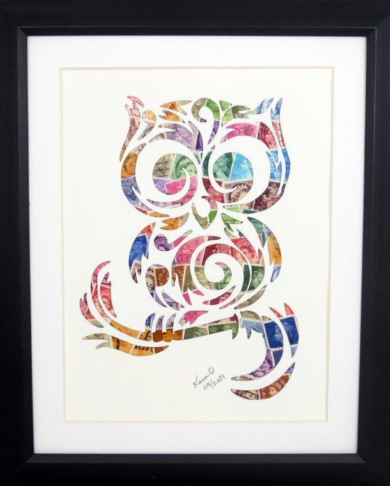 """Vintage Postage Stamp Art - """"Owl"""""""