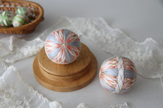 Hanging decoration in east style Temari Christmas ball [Sakura orchid] Traditional crafts gift,home decoration,festival
