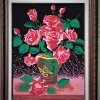 Picture embroidered with a cross a bouquet of roses