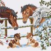 THESE SNOW HORSES are a 14 count cross stitch kit with 100% cotton threads
