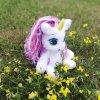 Crochet Unicorn soft toy Handmade stuffed white pony with rainbow mane and tail