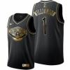 Men's New Orleans Pelicans #1 Zion Williamson Black Golden Edition Jersey