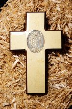 Handmade Beige Wooden Cross with Virgin Mary